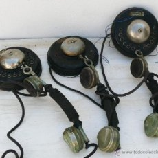 Teléfonos: LOTE DE MUSEO 3 TELEFONO ANTIGUO AÑOS 20 HIERRO Y MADERA JUAN RIPOLLES VALENCIA PINTOR SOROLLA 32 . Lote 44016601