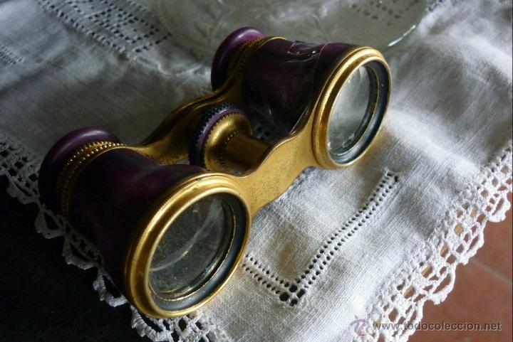 BELLISIMOS BINOCULARES JUMELLE DUCHESSA OPERA - NACAR LILA PEQUEÑO DETALLE SIGLO XIX (Antigüedades - Técnicas - Instrumentos Ópticos - Binoculares Antiguos)
