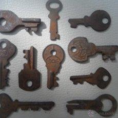 Antigüedades: LLAVE ANTIGUA LOTE DE 10 LLAVES DIFERENTES CANDADO ?. Lote 44227887