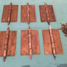Antigüedades: LOTE DE 6 BISAGRAS ANTIGUAS PARA PUERTA. Lote 44671622