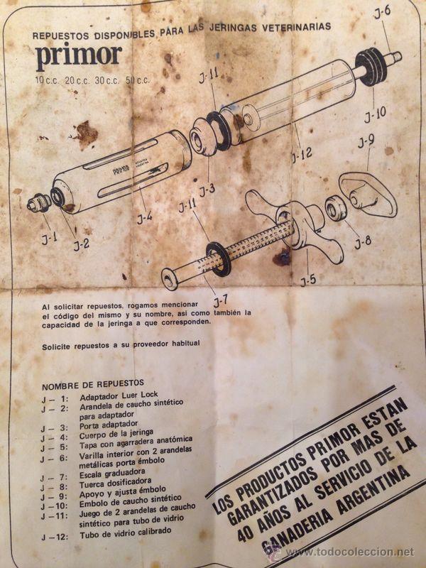 Antigüedades: ANTIGUA JERINGUILLA DE VETERINARIO MARCA PRIMOR. FABRICACION ARGENTINA PARA GANADERIA.3 AGUJAS Y MAS - Foto 8 - 44712803