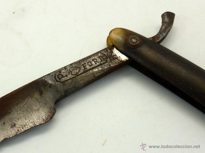 Antigüedades: Navaja barbero P Ford mango asta tallada - Foto 2 - 44869378