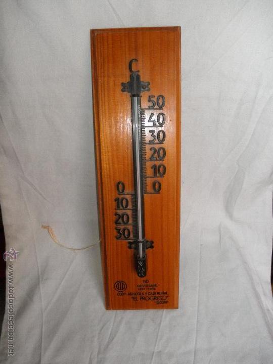 TERMOMETRO DE PARED - PUBLICIDAD COOPERATIVA AGRICOLA Y CAJA RURAL EL PROGRESO BICORP - 50 ANV, 1934 (Antigüedades - Técnicas - Otros Instrumentos Ópticos Antiguos)