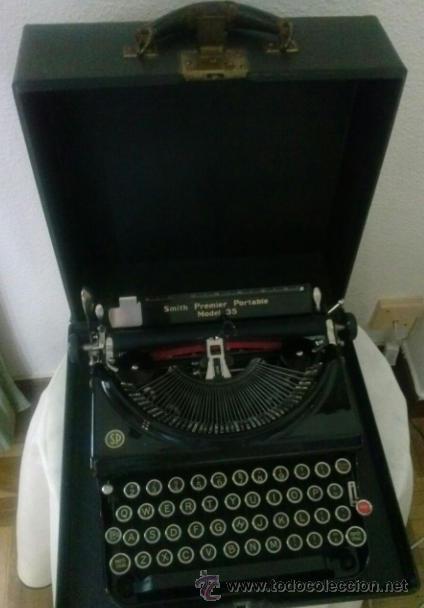 MAQUINA DE ESCRIBIR ANTIGUA SMITH PREMIER PORTABLE MODEL 35 CON SU CAJA (Antigüedades - Técnicas - Máquinas de Escribir Antiguas - Mignon)
