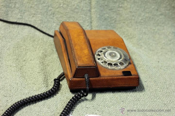 TELÉFONO PIEL, ADAPTADO Y FUNCIONANDO. AÑOS 70 (Antigüedades - Técnicas - Teléfonos Antiguos)