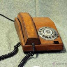 Teléfonos: TELÉFONO PIEL, ADAPTADO Y FUNCIONANDO. AÑOS 70. Lote 45035808