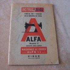 Antigüedades: INSTRUCCIONES PARA MAQUINA DE COSER ALFA MODELO C. Lote 45117266