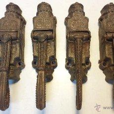 Antigüedades: LOTE DE 4 ANTIGUAS LEVAS O CERRADURA PARA VENTANALES. DE HIERRO FUNDIDO, VER.. Lote 45130467