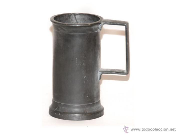 Antigüedades: medida de estaño de doble decilitro preciosa - Foto 3 - 45161379