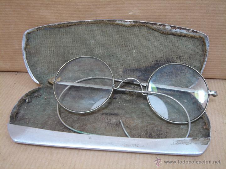 ANTIGUAS GAFAS LECTURA - BARILLA MUELLE - LENTES CRISTAL + FUNDA ALUMINIO - PRINCIPIOS SIGLO XX (Antigüedades - Técnicas - Instrumentos Ópticos - Gafas Antiguas)