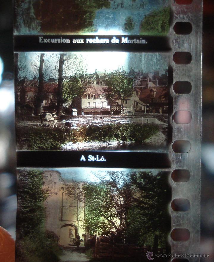 Antigüedades: ANTIGUAS DIAPOSITIVAS COLOREADAS A MANO PATHEORAMA FILMETTE X6 AÑO 1900 - Foto 3 - 45195423