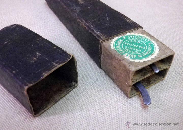 Antigüedades: ORIGINAL JUEGO DE NAVAJAS DE AFEITAR, EN ESTUCHE DOBLE, FILARMONICA Y H. BOKER & CO, DE RECORTE - Foto 43 - 45215186