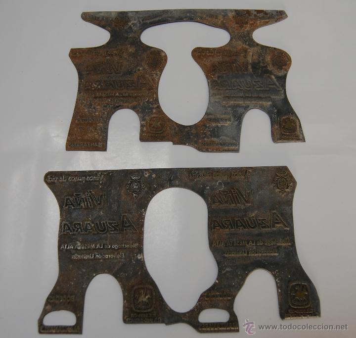CLICHÉ DE IMPRENTA PUBLICIDAD ETIQUETA VINO AZUARA MANZANARES (Antigüedades - Técnicas - Herramientas Profesionales - Imprenta)