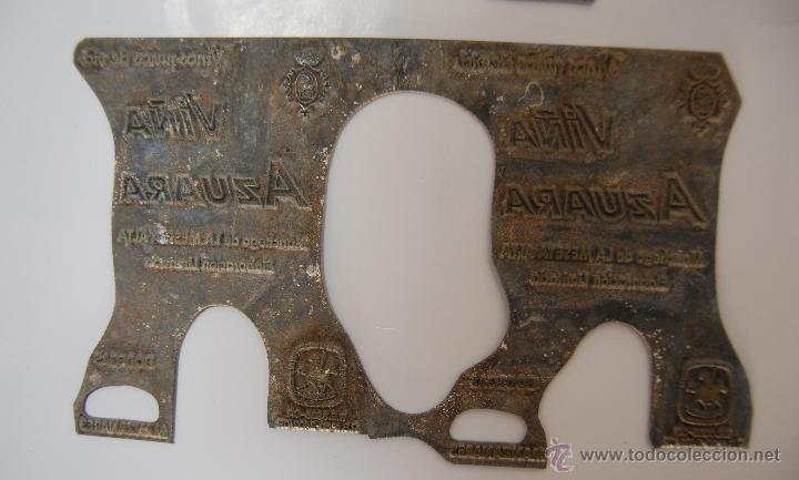 Antigüedades: CLICHÉ DE imprenta PUBLICIDAD ETIQUETA VINO AZUARA MANZANARES - Foto 2 - 45234647
