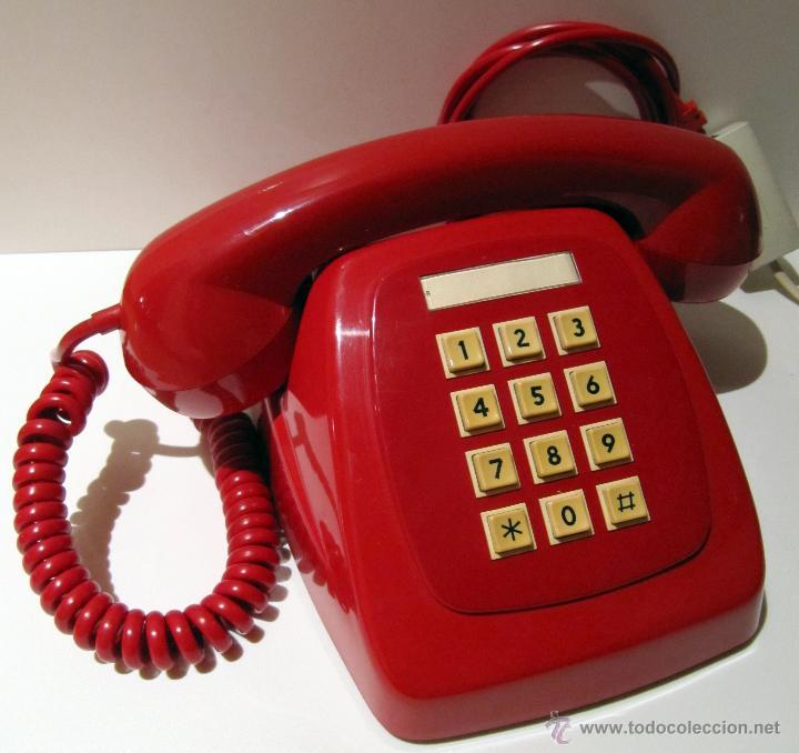TELEFONO HERALDO CITESA TECLAS ADAPTADO. ROJO ORIGINAL VINTAGE (Antigüedades - Técnicas - Teléfonos Antiguos)