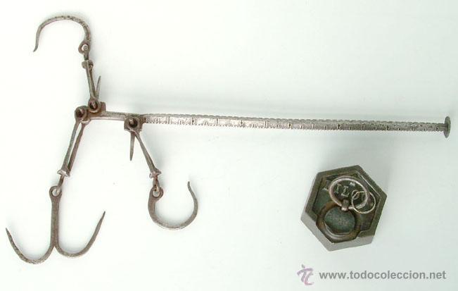 ANTIGUA ROMANA DE HIERRO, BUEN ESTADO (Antigüedades - Técnicas - Medidas de Peso - Romanas Antiguas)