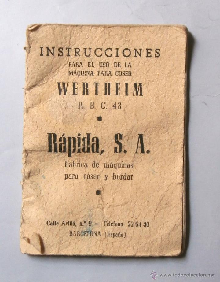 Manual de instrucciones maquina coser wertheim - Vendido