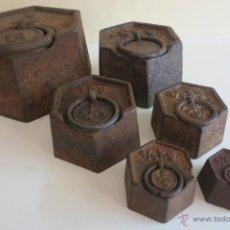 Antigüedades: JUEGO DE PESAS EXAGONALES PORTUGESAS. Lote 45483072