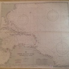 Antigüedades: HYDROGRAPHIC OFFICE US NAVY 1922 NORTH ATLANTIC OCEAN SOUTHWESTERN SHEET #0955A. Lote 45507148