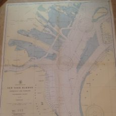 Antigüedades: HYDROGRAPHIC OFFICE US NAVY MAP 1943 NEW YORK HARBOR UPPER BAY AND NARROWS ANCHORAGE CHART. Lote 45524023