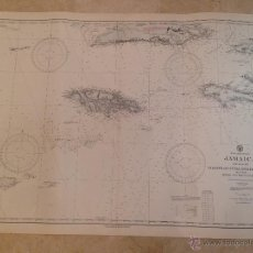 Antigüedades: HYDROGRAPHIC OFFICE US NAVY MAP 1919 JAMAICA AND ADJACENT COASTS OF CUBA AND HISPANIOLA. Lote 45551039