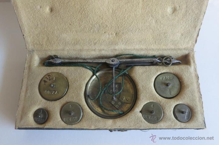Antigüedades: caja de ponderales monetarios epoca Isabel II completa - Foto 2 - 45553889