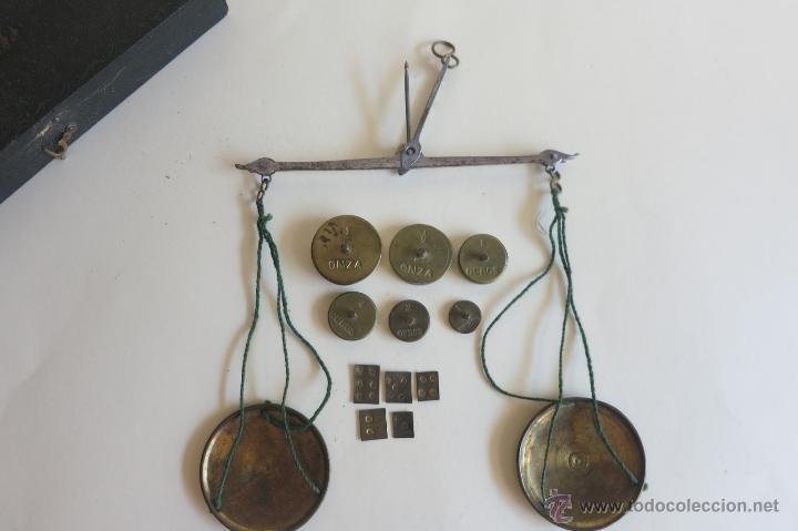 Antigüedades: caja de ponderales monetarios epoca Isabel II completa - Foto 3 - 45553889