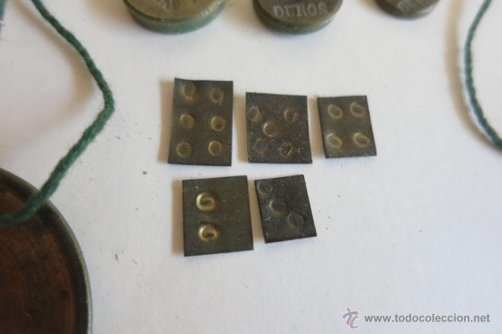 Antigüedades: caja de ponderales monetarios epoca Isabel II completa - Foto 5 - 45553889