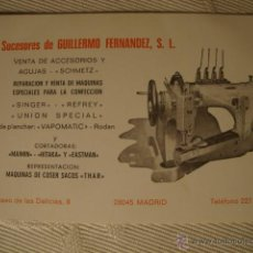 Antigüedades: ANTIGUA PUBLICIDAD ORIGINAL DE MAQUINA COSER REPARACIONES SINGER REFREY. Lote 45613301