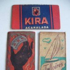 Antigüedades: LOTE DE 3 FUNDAS DE HOJA DE AFEITAR MARCAS BETER. KIRA. TALLOIRES. Lote 45683108