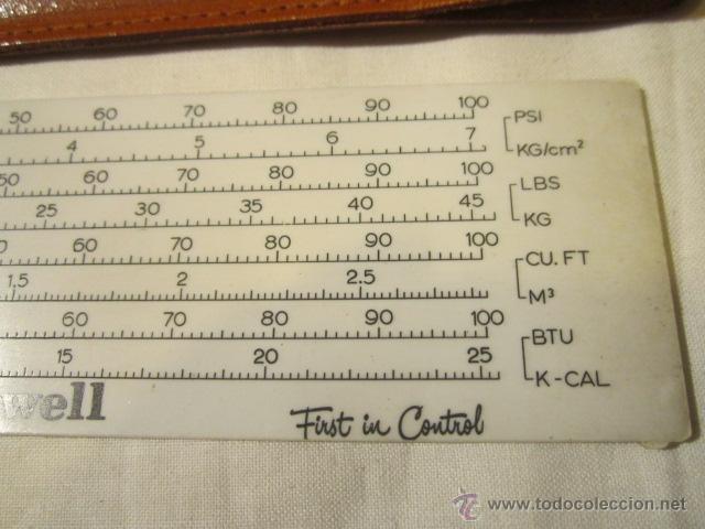 Antigüedades: Regla Honeywell, con equivalencias de medidas. Funda de cuero. 14,5 x 4 cms. - Foto 4 - 45695124