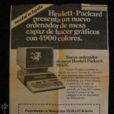 Antigüedades: ORDENADOR DE MESA, NUEVO HEWLETT-PACKARD 9845C,PRESENTACION EN MADRID , 1980.HOJA PERIODICO EL PAIS. Lote 45948687
