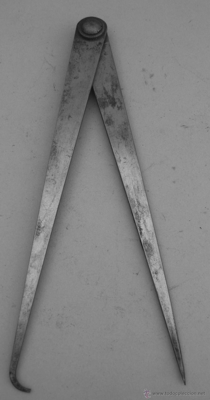 Antigüedades: compas de acero CEAL - para medidas exteriores o interiores (20cm aprox) - Foto 2 - 45951756