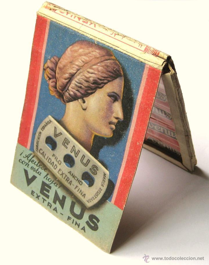 EXPOSITOR PUBLICIDAD DE CUCHILLAS HOJAS DE AFEITAR VENUS AÑOS 50 (Antigüedades - Técnicas - Barbería - Hojas de Afeitar Antiguas)