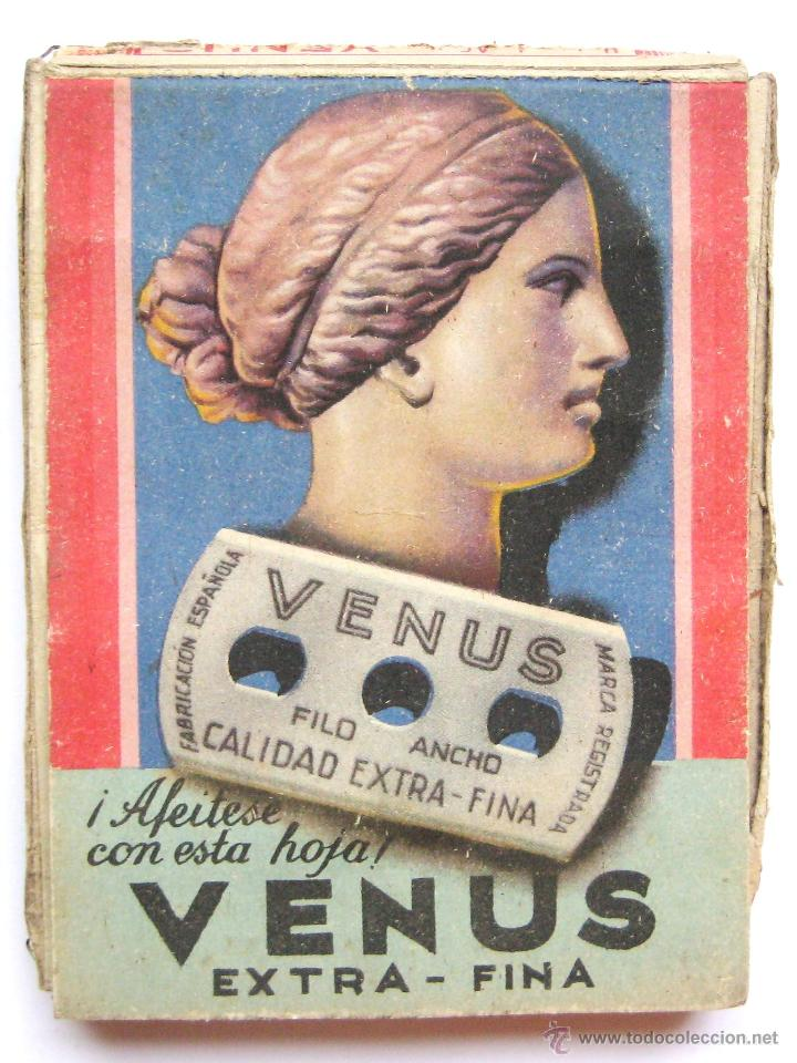 Antigüedades: EXPOSITOR PUBLICIDAD DE CUCHILLAS HOJAS DE AFEITAR VENUS AÑOS 50 - Foto 2 - 46210345