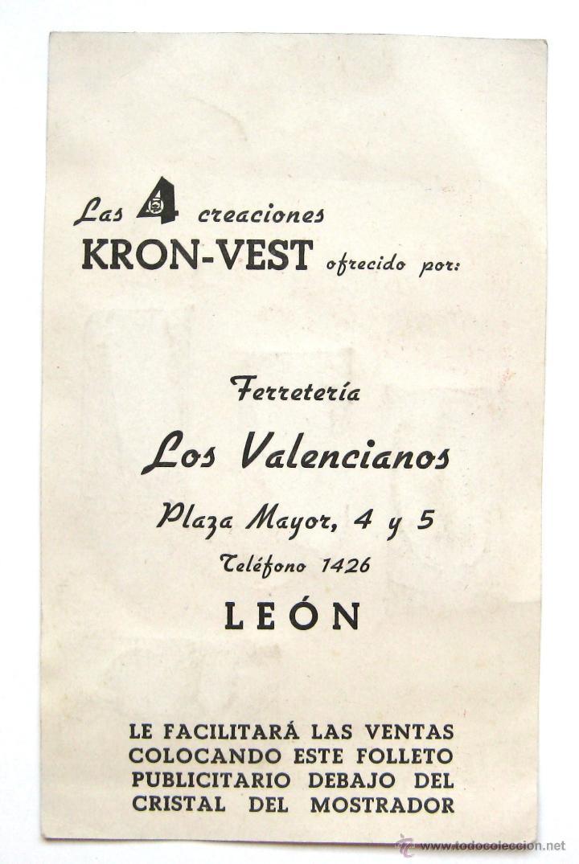 Antigüedades: PUBLICIDAD CUCHILLAS HOJAS DE AFEITAR KRON VEST CON 4 MUESTRAS. FERRETERIA LOS VALENCIANOS LEON - Foto 2 - 46210917