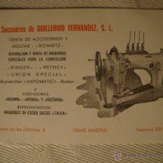 Antigüedades: ANTIGUA PUBLICIDAD MAQUINA MAQUINAS DE COSER SINGER REFREY..., HACIA 1940.. Lote 46421622