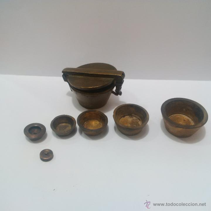 Antigüedades: ANTIGUOS PONDERALES DE BRONCE CON VASOS ANIDADOS PARA PESAR ORO -SIGLO XVIII - Foto 4 - 46612577