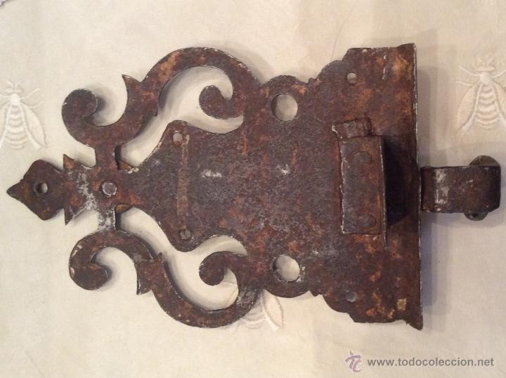 Antigüedades: CERROJO FORJA HIERRO 18,5 cm x 10,5 cm - Foto 2 - 46658679