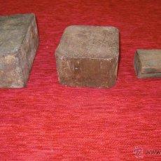 Antigüedades: 3 YUNQUES DE MANO DE HIERRO UTILIZADOS EN DISTINTAS LABORES.. Lote 46737511