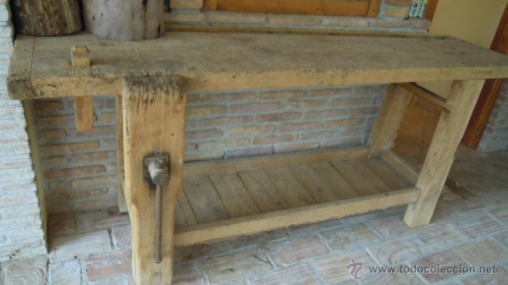 Banco de carpintero antiguo de madera maciza comprar for Caseta de herramientas segunda mano