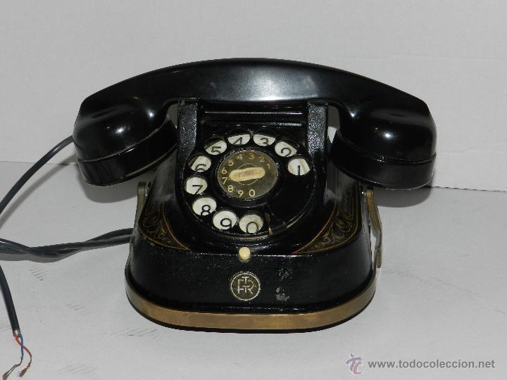 Teléfonos: (M) TELEFONO BAQUELITA NEGRO CON DORADOS Y DECORADO CON ASA, MOD-56 BELL TELEPHONE COMPANY - Foto 2 - 46757265