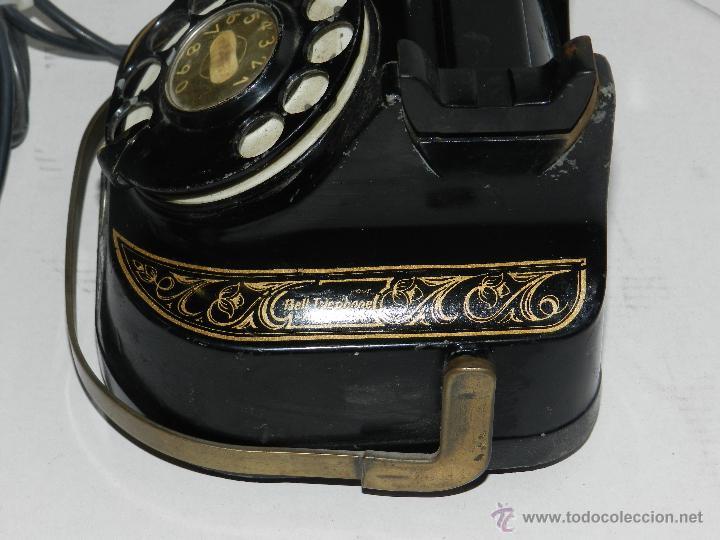 Teléfonos: (M) TELEFONO BAQUELITA NEGRO CON DORADOS Y DECORADO CON ASA, MOD-56 BELL TELEPHONE COMPANY - Foto 3 - 46757265
