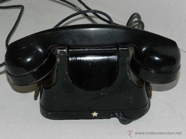 Teléfonos: (M) TELEFONO BAQUELITA NEGRO CON DORADOS Y DECORADO CON ASA, MOD-56 BELL TELEPHONE COMPANY - Foto 5 - 46757265