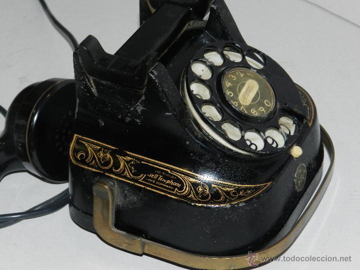 Teléfonos: (M) TELEFONO BAQUELITA NEGRO CON DORADOS Y DECORADO CON ASA, MOD-56 BELL TELEPHONE COMPANY - Foto 6 - 46757265