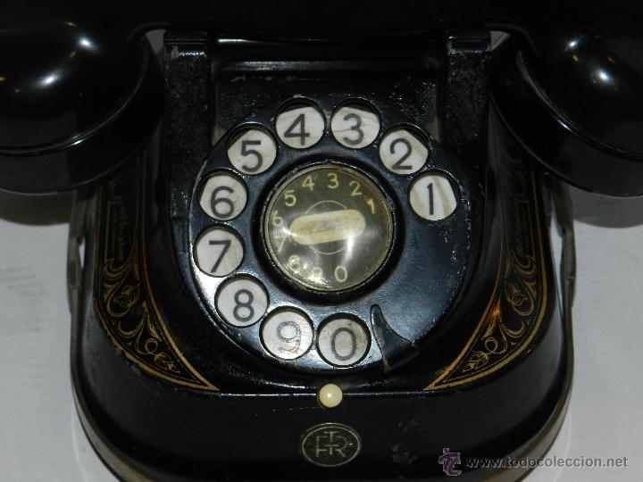 Teléfonos: (M) TELEFONO BAQUELITA NEGRO CON DORADOS Y DECORADO CON ASA, MOD-56 BELL TELEPHONE COMPANY - Foto 7 - 46757265