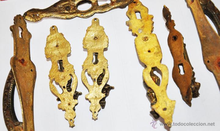 Antigüedades: JUEGO DE Siete TIRADORES ANTIGUOS PARA MUEBLE. - Foto 3 - 46932946