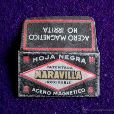 Antigüedades: HOJA DE AFEITAR ANTIGUA - HOJA NEGRA MARAVILLA ACERO MAGNETICO - SIN USAR. Lote 180158628