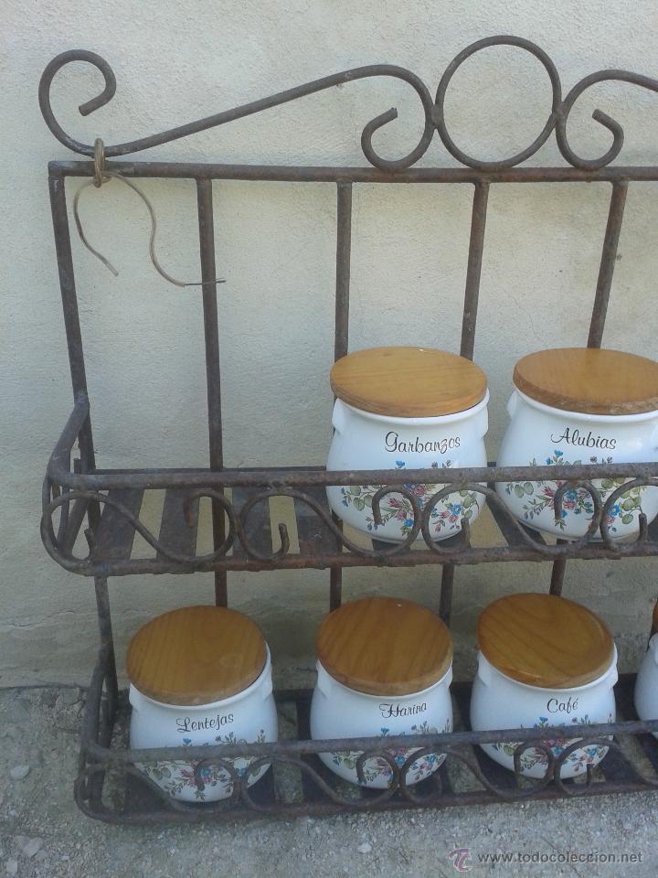 Antigüedades: Preciosa estanteria leja hierro y forja - para decoración shabby chic rústica comercios o cocina - Foto 5 - 47032077