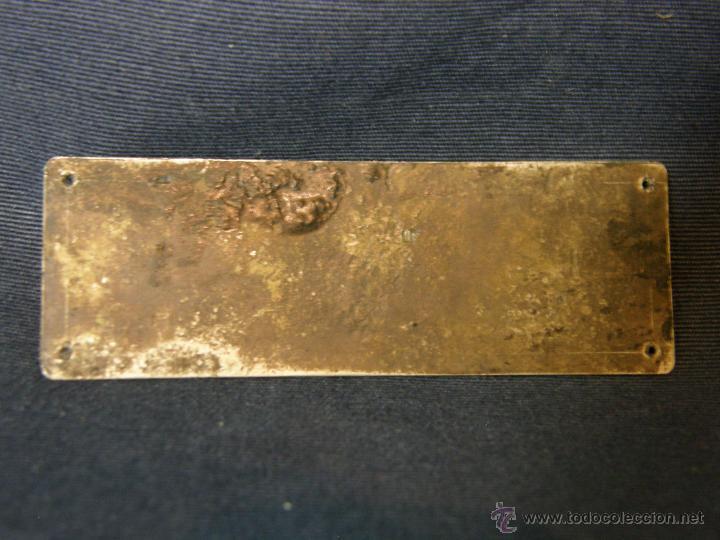 Antigüedades: placa metal plateado incisa botiquin para automovil farmaceutico madrid j.cea ppios s XX 6,8x2,3cms - Foto 2 - 47108036
